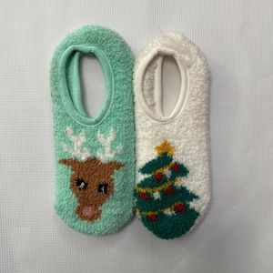Old Navy Fuzzy Slipper Socks Deer Tree 2 pk
